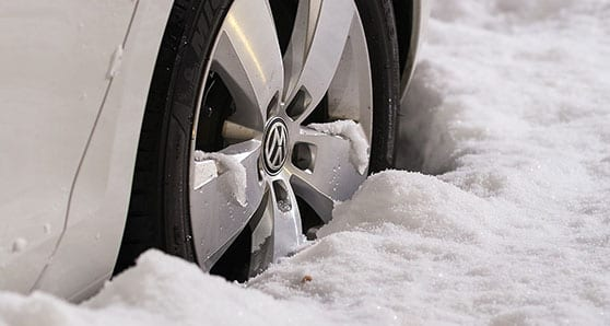 Winter tires are essential when the snow falls