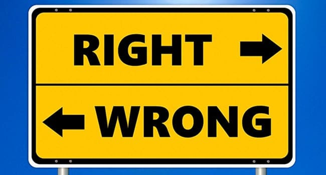 Sign showing directions to right and wrong