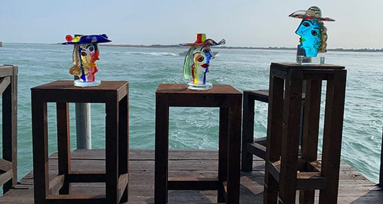 The Homage to Picasso pieces by Master Walter Furlan. We were taken to a private viewing of the three sculptures on the factory deck. Each had been placed on a pedestal, with the Venetian lagoon as a backdrop. Photo by Mike Robinson